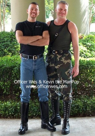 Officer & Kevin the ManPup at the host hotel for the 2002 International Puppy Contest